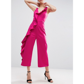 Satin Ruffle  Structured Jumpsuit  In Pink (ホットピンクサテンラッフル ジャンプスーツ)