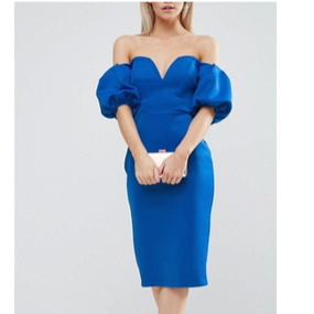 Off The Shoulder Dress With Puff Sleeve Points (オフショルダーパフスリーブワンピ)