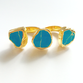 18K Light Blue Jasper Stone Double Finger Ring (18金加工 ライトブルー ダブルフィンガーリング)