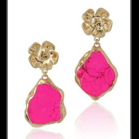 【予約販売!!】18K Gold Dipped Hot Pink Jasper Stone Earrings