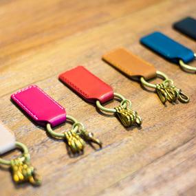 革と真鍮のキーホルダー(全6色)