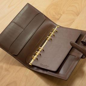 【バイブルサイズ】機能的でスマートな革のシステム手帳 カラーヌメ・チョコ
