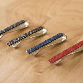 革のネクタイピン・シルバー製(全4色)
