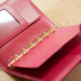 【ミニ6】機能的でスマートな革のシステム手帳 カラーヌメ・ピンク