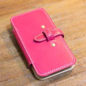 iPhone6 手帳型レザーケース ピンクxヌメ