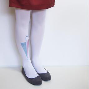 大きなワンポイントタイツ「傘と雫」white(受注生産)【送料無料】