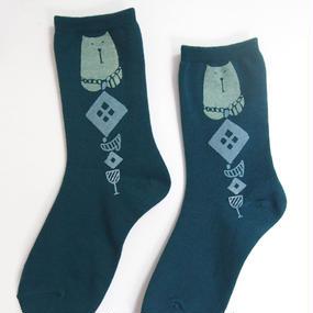 綿プリント靴下003号「猫」green(受注生産)【送料無料】
