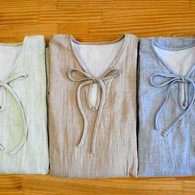 オーガニックトップ糸ダブルガーゼのVネックリボンチュニック