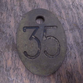 Vintage Brass Tag  :No.35