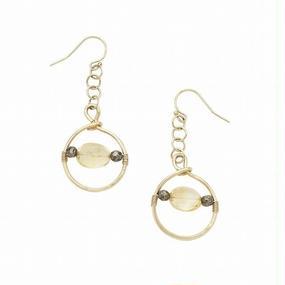 Ring Ring ピアス  Citrine/Pyrite