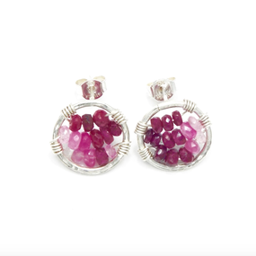 Ruby circle earring