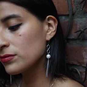 Pearl infinity silver earring - Silver