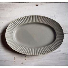 Sara Stripe Oval Plate ( Gray )