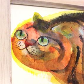 ST039太った猫の絵「飛ぶ鳥を」左藤芳美