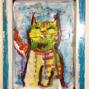 ST036黄色い猫の絵「いえろう」左藤芳美