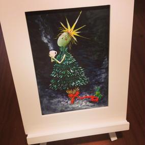 ST062クリスマスの絵「ツリーへの想い」左藤芳美