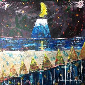恐竜のしっぽと山の絵「月のうた」左藤芳美 ST014