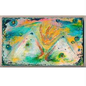 ST054双子山の絵「夕陽の忘れもの」左藤芳美