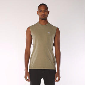 PALM LOGO MUSCLE - ARMY GREEN  Thrills Co.