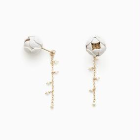 Ichirin Earrings / white , pink