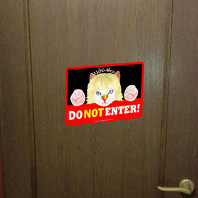 "High Quality & Durable Magnet Sign ""DO Not Enter!""- Uchû-Neco (Super Cat From Outer Space)"