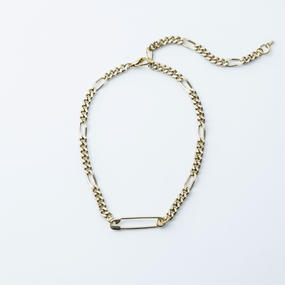 Safety pin chain necklace