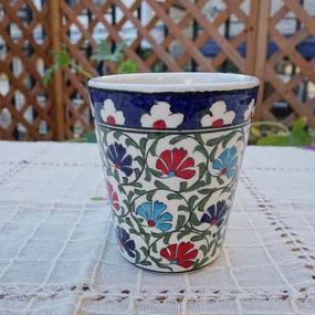 cup-34  手描きのトルコ・キュタフヤ陶器カップ(カーネーション)