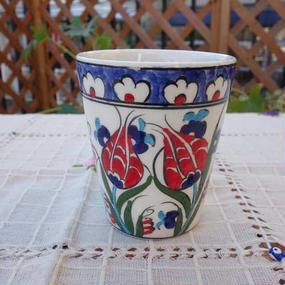 cup-26  手描きのトルコ・キュタフヤ陶器カップ(チューリップ)