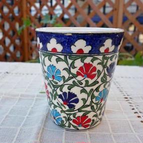 cup-37  手描きのトルコ・キュタフヤ陶器カップ(カーネーション)