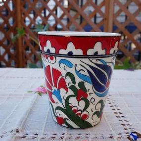 cup-39  手描きのトルコ・キュタフヤ陶器カップ(チューリップ&カーネーション)