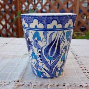 cup-38  手描きのトルコ・キュタフヤ陶器カップ(チューリップ&カーネーション)