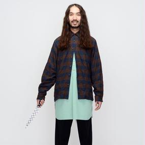 elephant TRIBAL fabrics / シャーリングチェックシャツ / RED