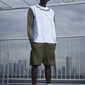 elephant TRIBAL fabrics ストライプロングTシャツ /white