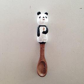 木彫りのパンダスプーン01