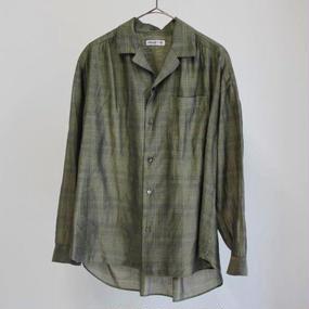 【PULETTE】シルクチェックシャツ/オリーブ