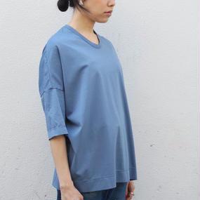 【NO CONTROL AIR】コットン5分丈Tシャツ  /ブルーグレー