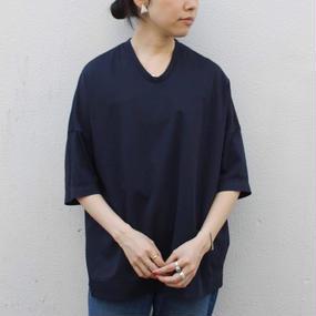 【NO CONTROL AIR】コットン5分丈Tシャツ/ネイビー