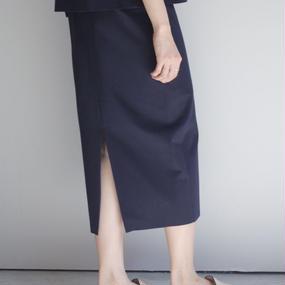 【jens】スムース スカート / ネイビー