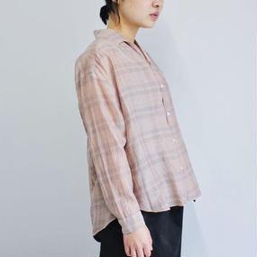 【PULETTE】シルクチェックシャツ/ピンク