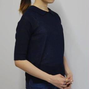 【PULETTE】ニットポロシャツ / ネイビー