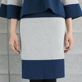 【FilMelange】MUIR 太ボーダータイトスカート / ネイビー