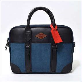 LEON FLAM(レオンフラム) PORTE DOCUMENT BLUE/NAVY(LEATHER/NUBUCK)