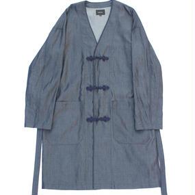 Flog Button Wind Robe Shirt - Light Tencel Denim / Indigo