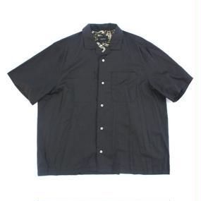 Open Collar SS Shirt - Tencel Lawn / Black