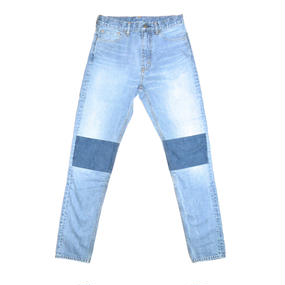 5 Pocket Western  Tapered Patch Denim Pants. -Ice Blue-
