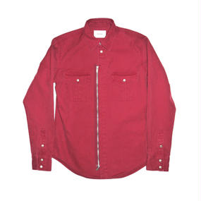 Military Ventile Zip Shirt. -Red-