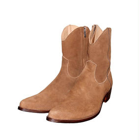 Cow Boy Suede Side Zip Pointed Boots. -Brown-