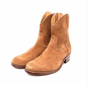 Cow Boy Suede Side Zip Boots. -Brown-