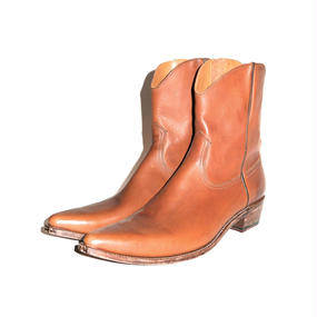 Cow Boy Leather Side Zip Pointed Boots. -Brown-