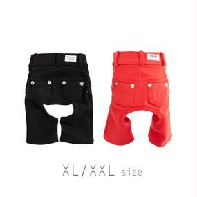XL-XXL カラーデニムニットパンツ (Red / Black) TT103025-3